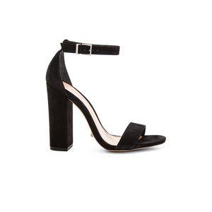 Schutz Enida Heel Suede Leather Ankle Strap Black